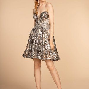 Sweetheart Neck Sequined Short Prom Dress GS1632